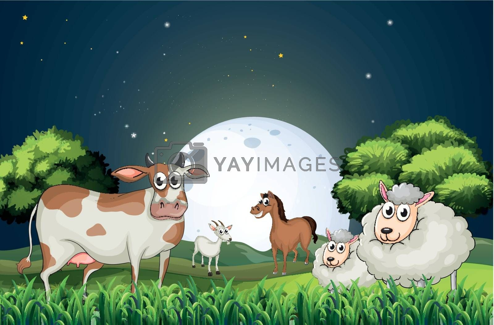 Illustration of the animals at the forest strolling in the middle of the night