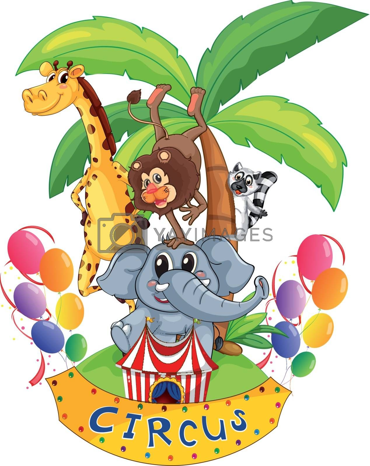 Illustration of an island full of circus animals on a white background