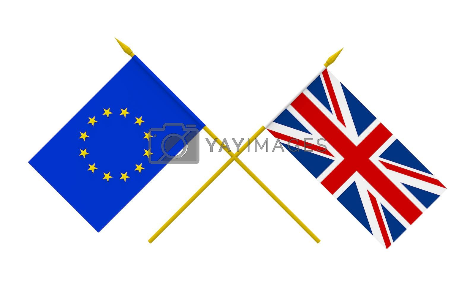 Flags of United Kingdom and European Union, 3d render, isolated on white