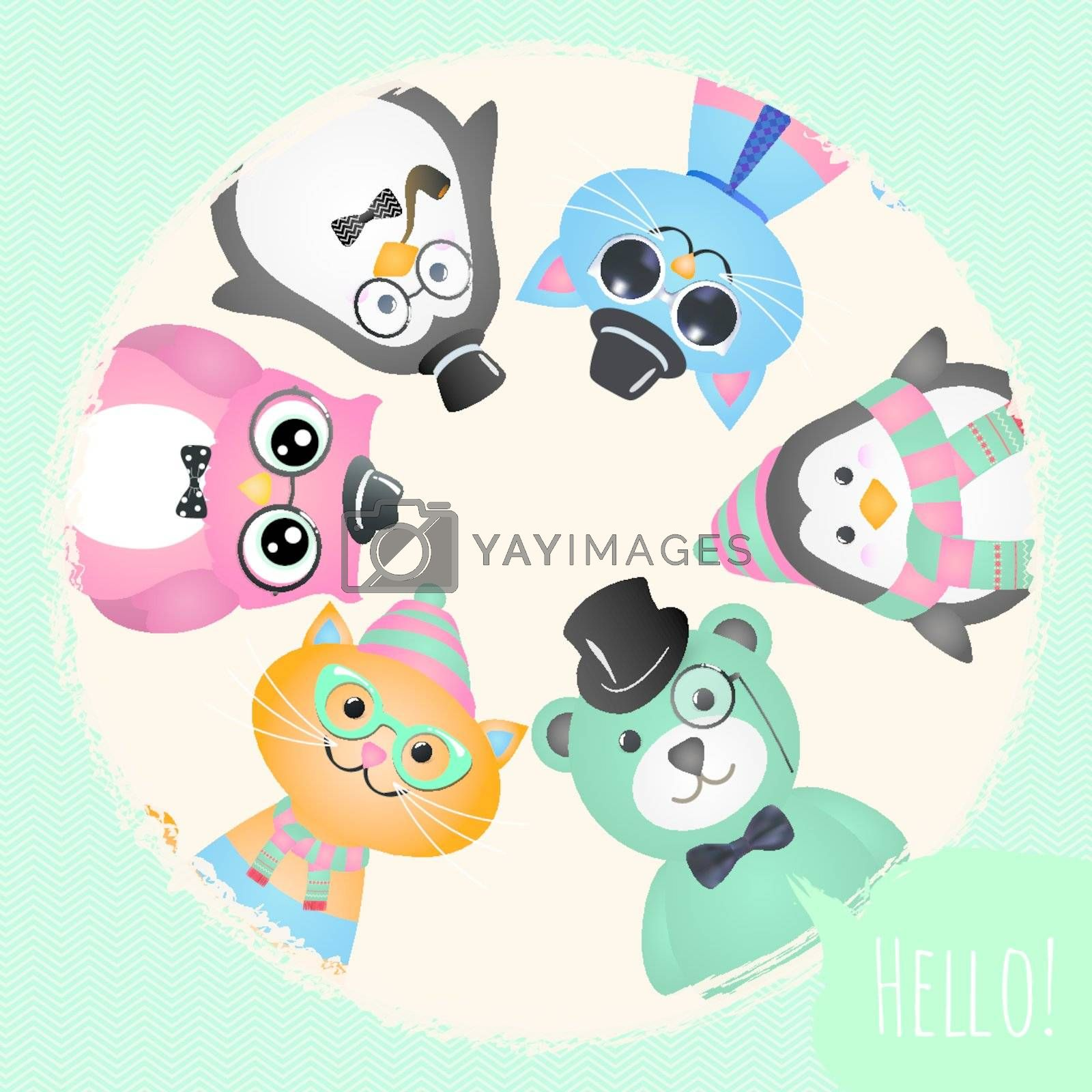 Hipster Fashion Retro Animals and Pets Card Illustration