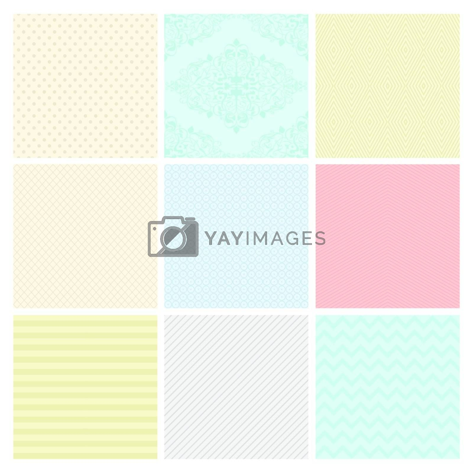Seamless Colorful geometric subtle background patterns.