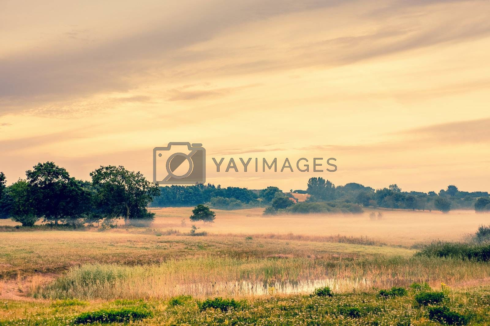 Beautiful sunrise at a countryside landscape