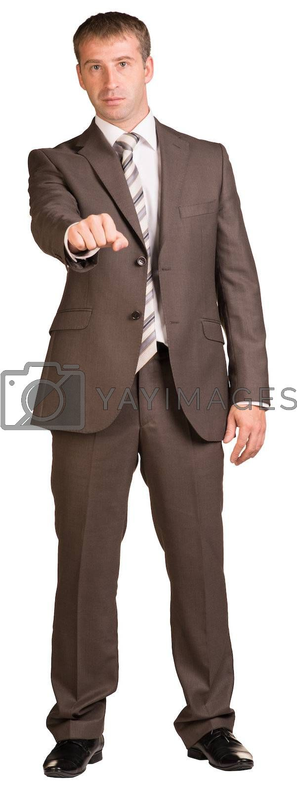 Fist businessman. Isolated on the white background