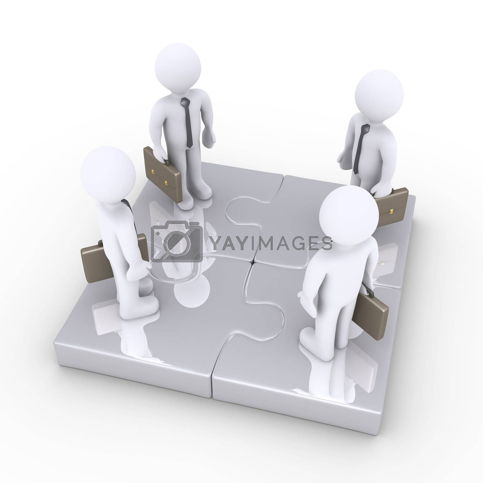 Four 3d businessmen are standing on connected puzzle pieces