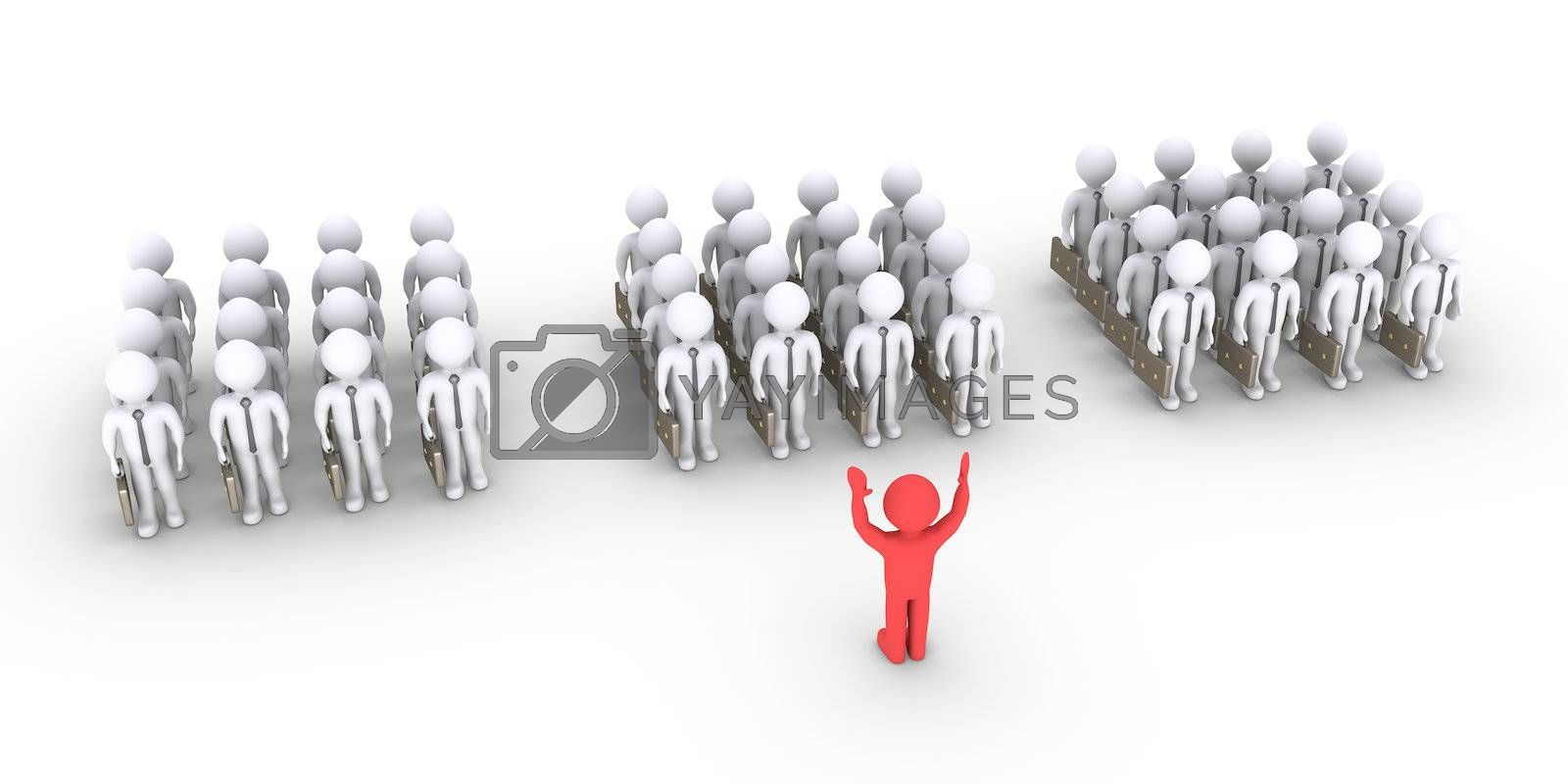 Groups of 3d businessmen are standing and in front is the leader