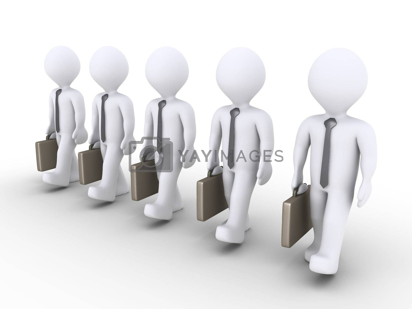 3d businessmen are in a row and are walking together