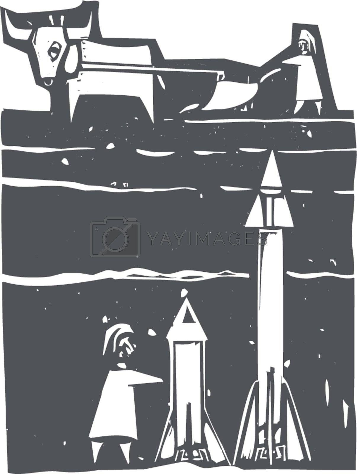 Woodcut style image of missiles being set up beneath a farm field