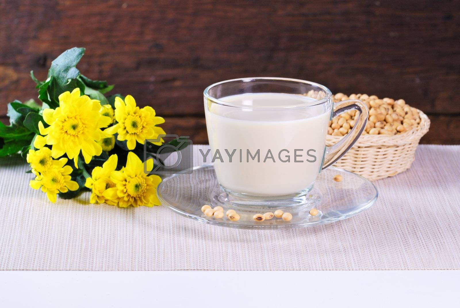 Royalty free image of soy milk with soy beans by teen00000
