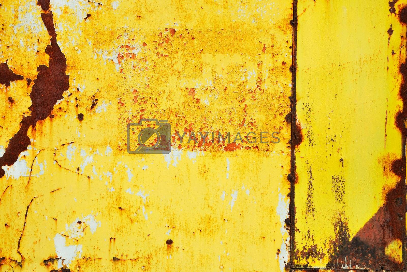 Royalty free image of Yellow painted metal with rust texture  by teen00000