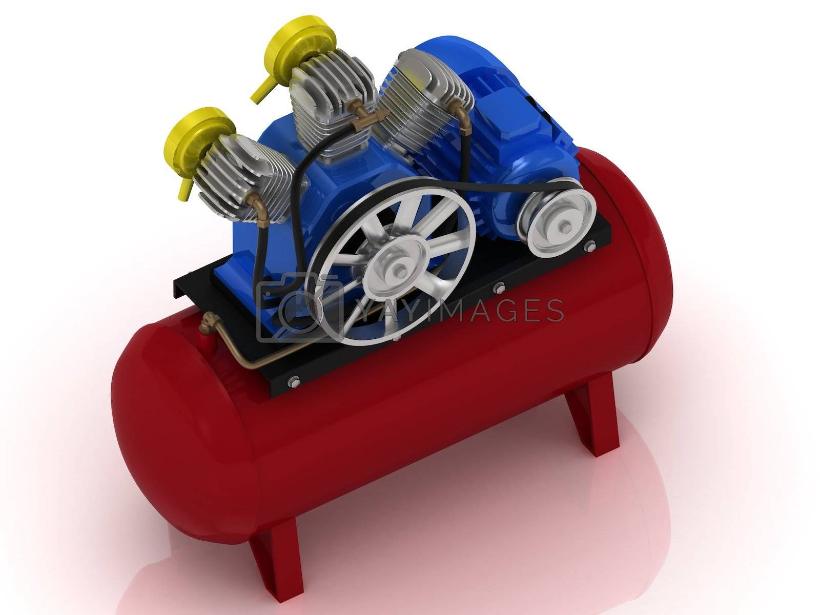 Royalty free image of Portable compressor with rotating pulley by GreenMost