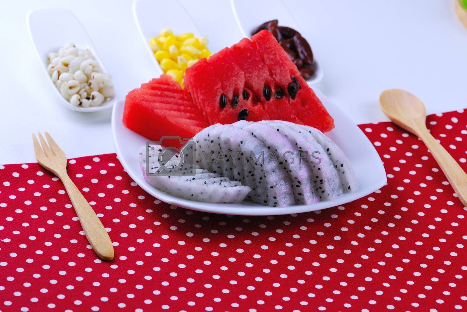 Royalty free image of pieces of refreshing watermelon and dragon fruit by teen00000