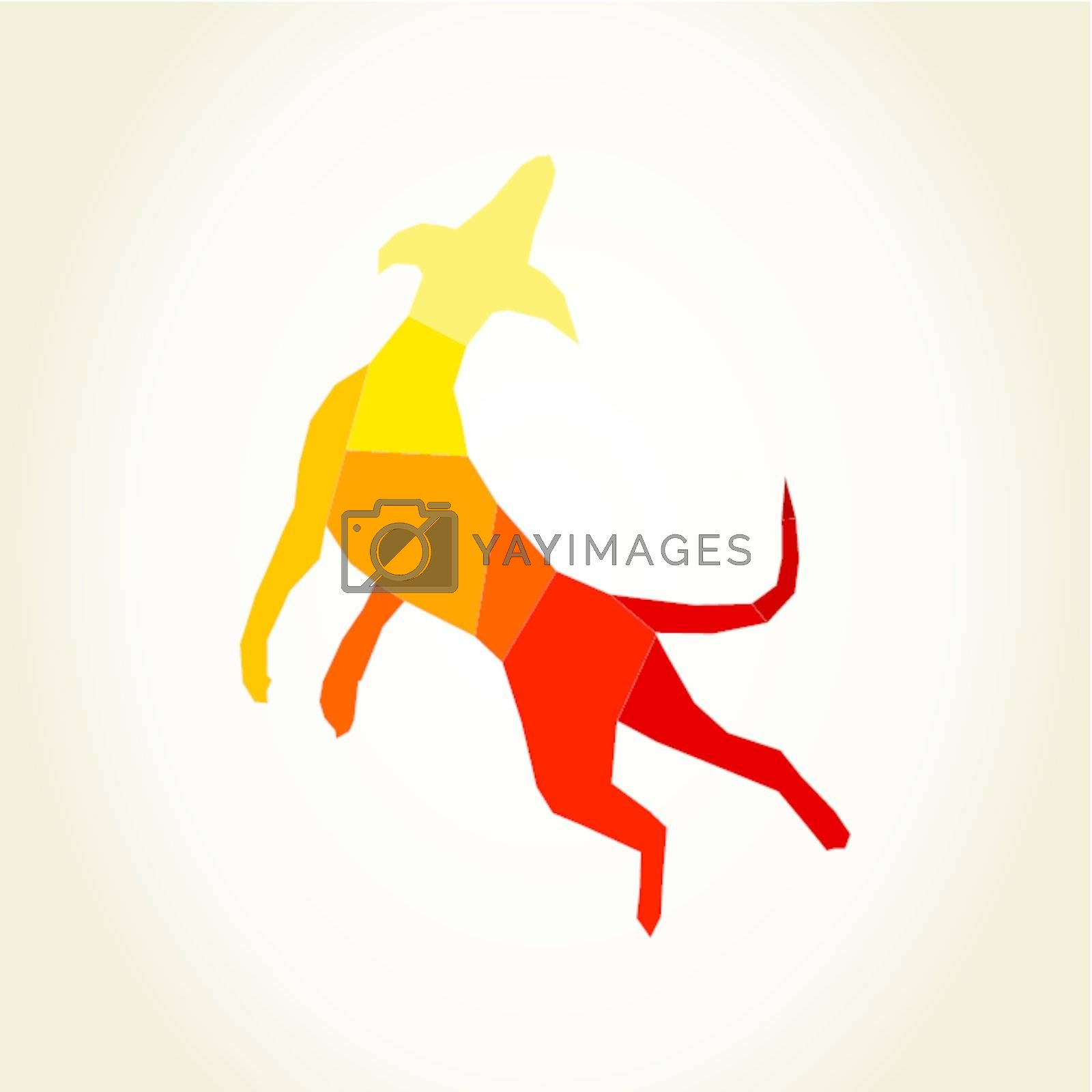 Dog in a jump. A vector illustration
