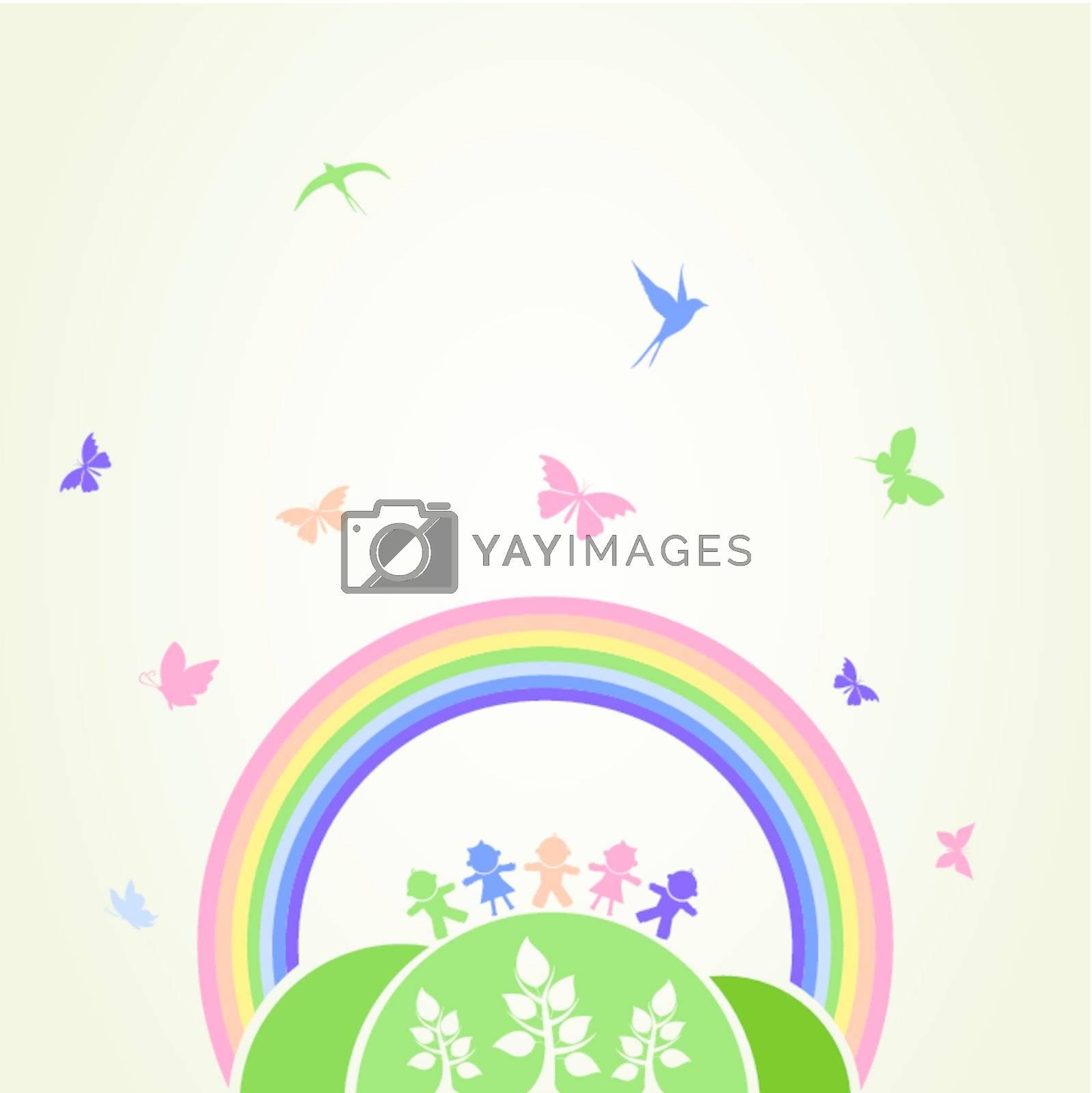 Children on a hill under a rainbow. A vector illustration