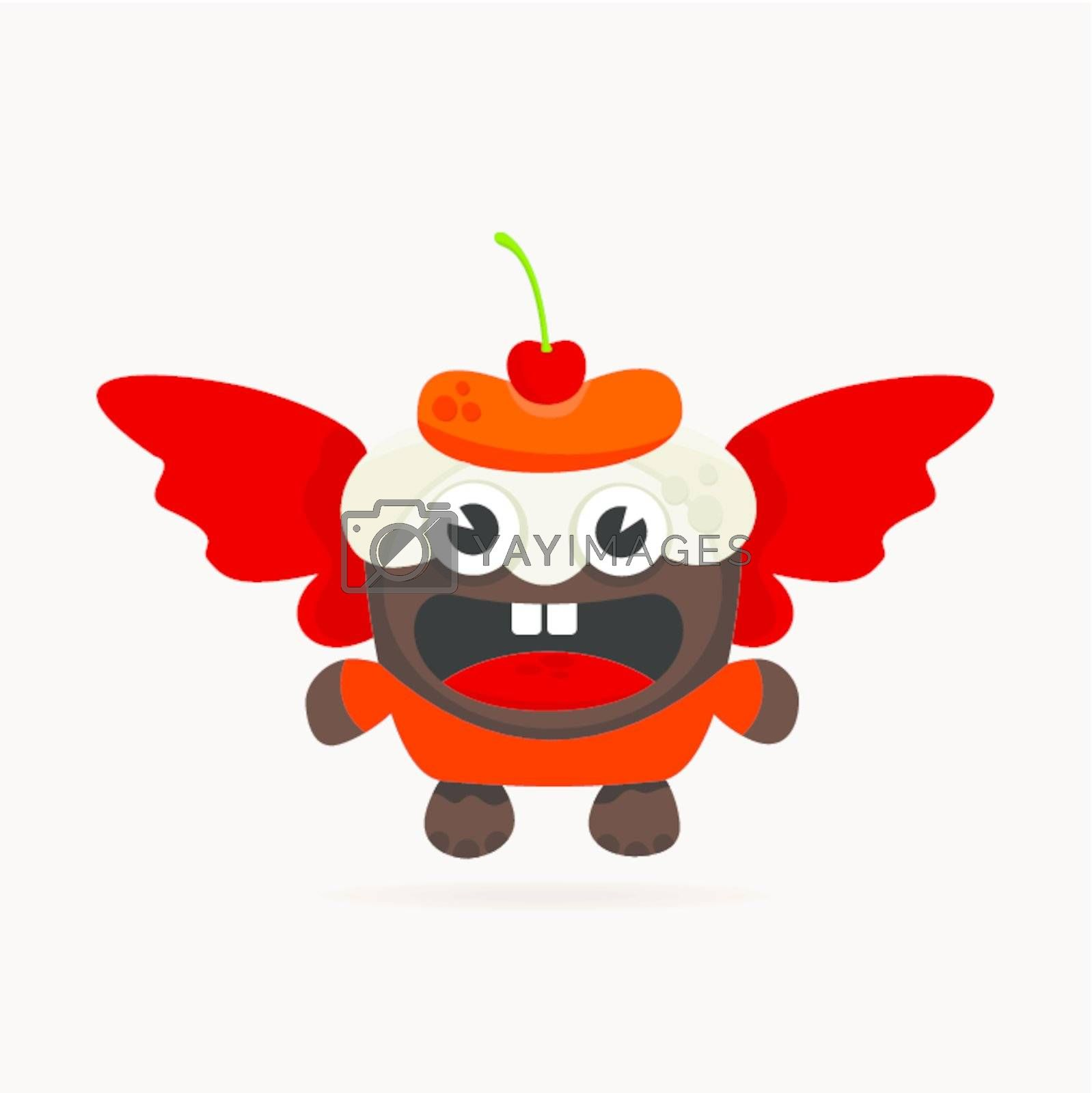 Fruitcake with wings. A vector illustration