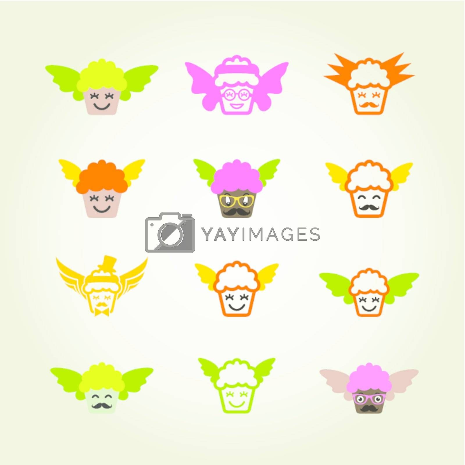 Set of icons of fruitcakes. A vector illustration