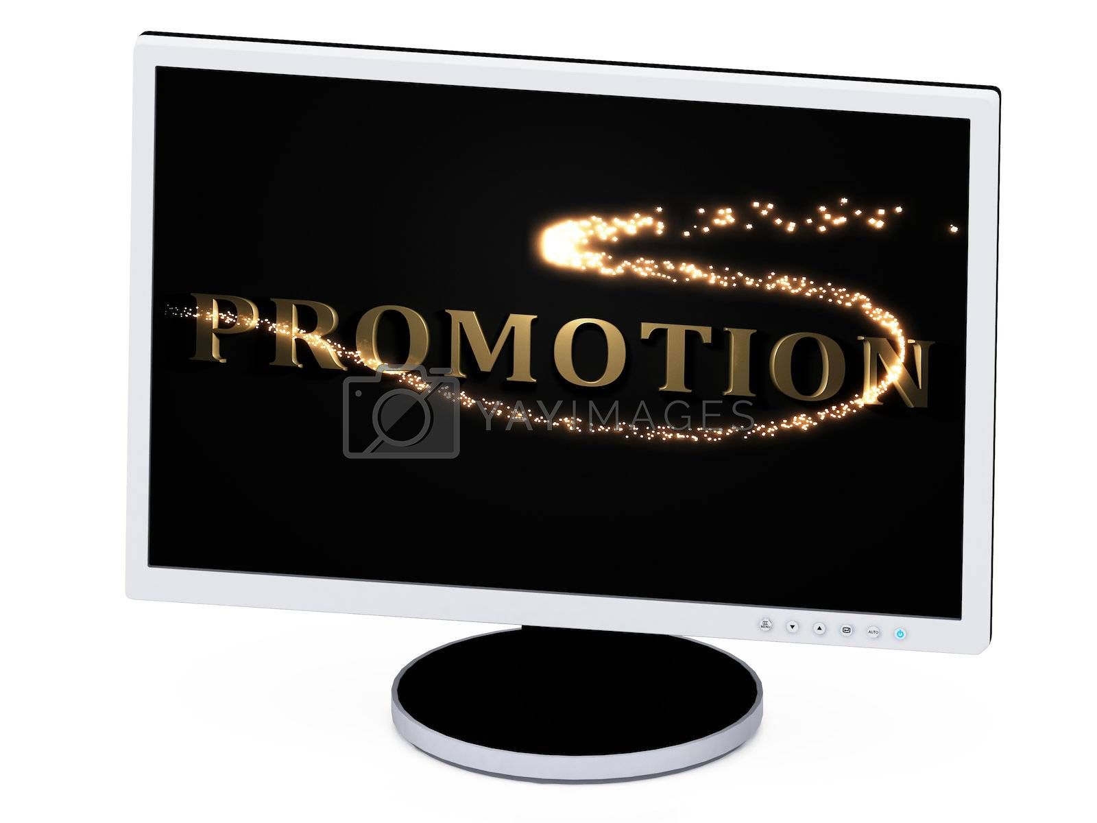 Royalty free image of PROMOTION 3d inscription with luminous spark on screen  by GreenMost