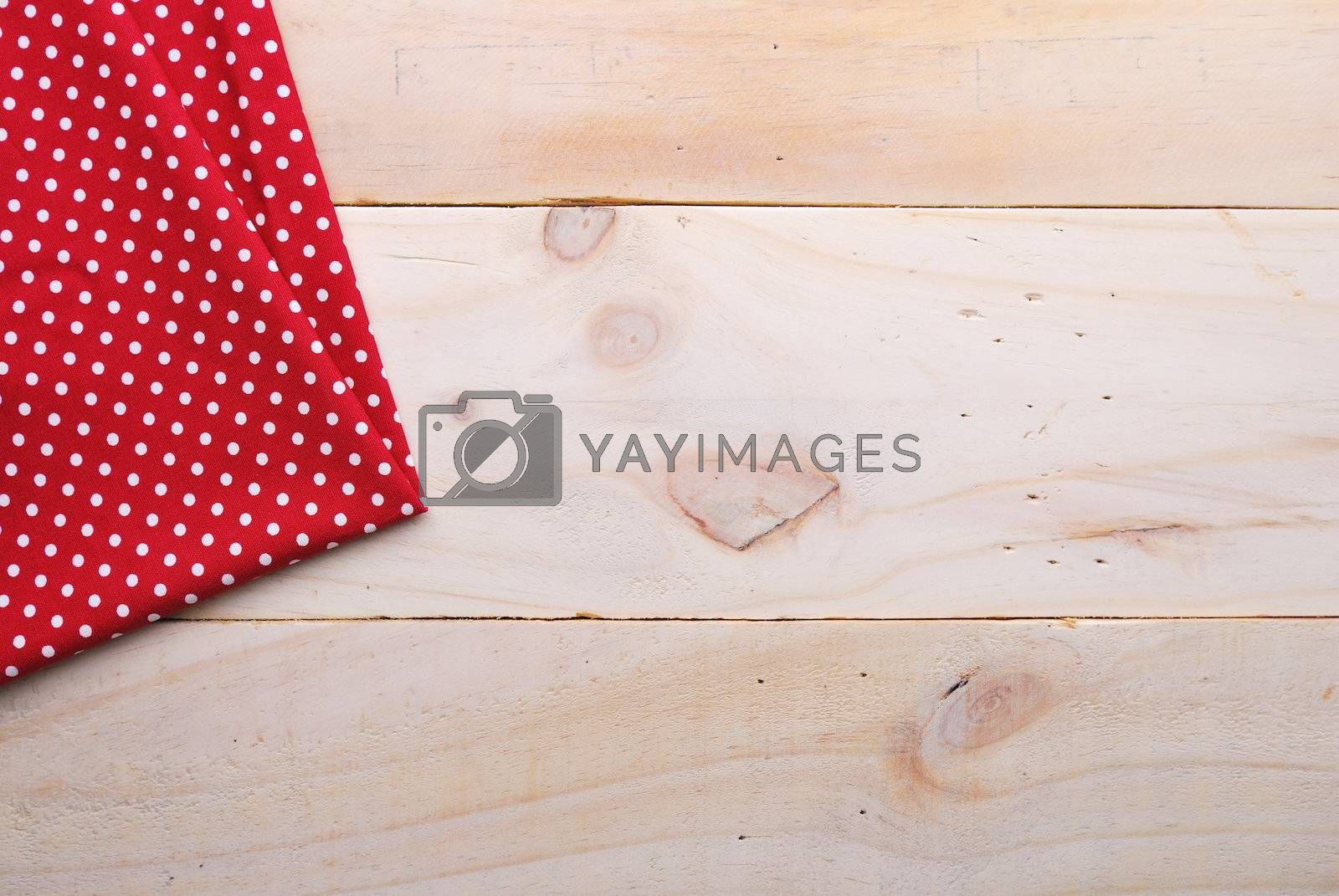 Royalty free image of the background made from tablecloth on wooden table by teen00000
