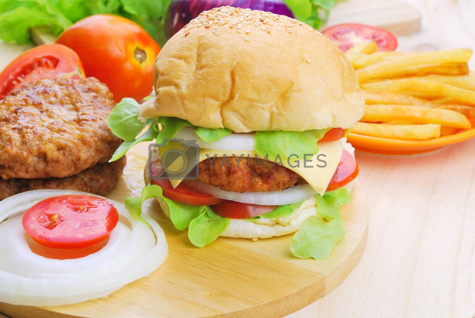 Royalty free image of Homemade burger,hamburger with vegetable  by teen00000