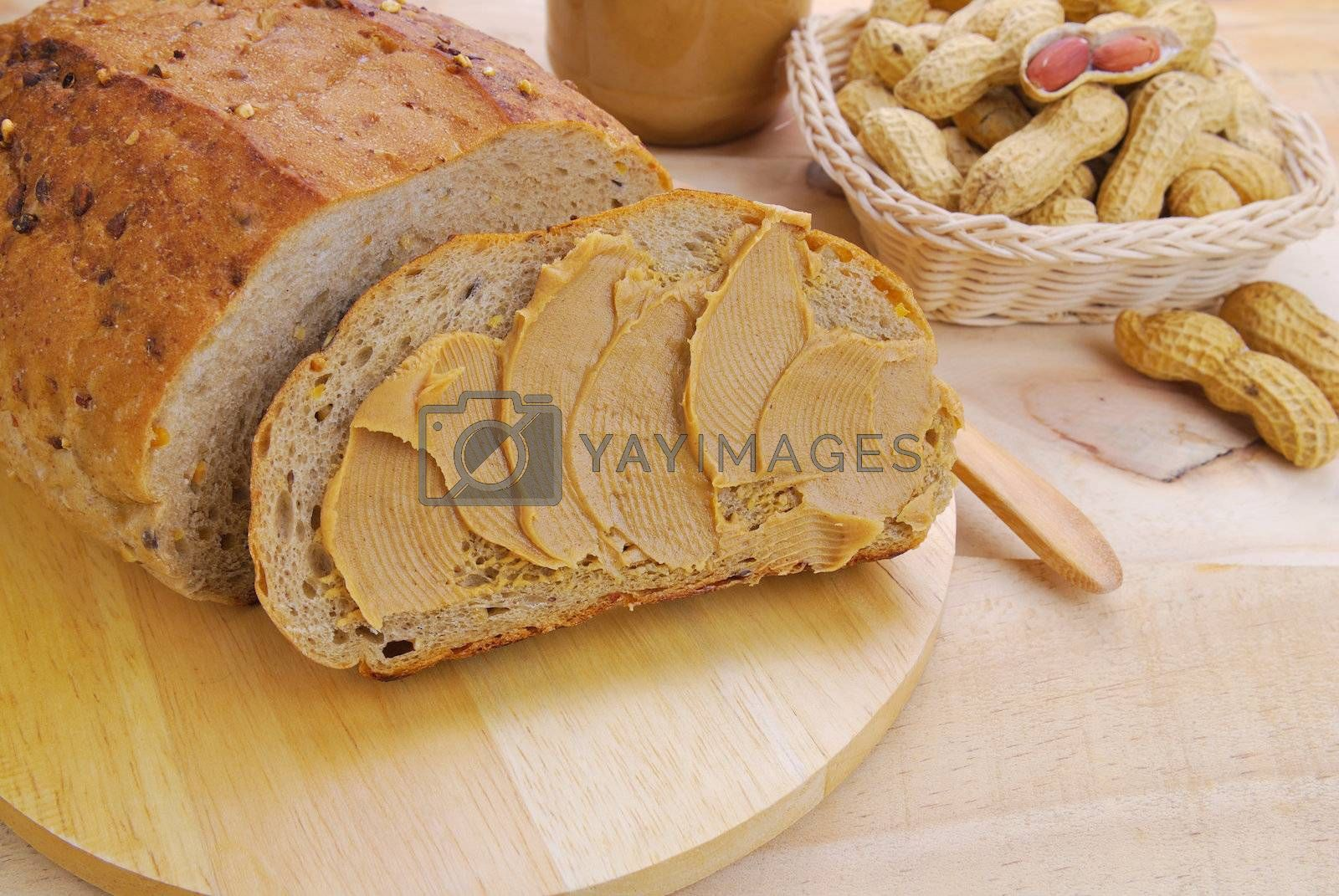 Royalty free image of Peanut butter and whole grain , whole wheat bread by teen00000