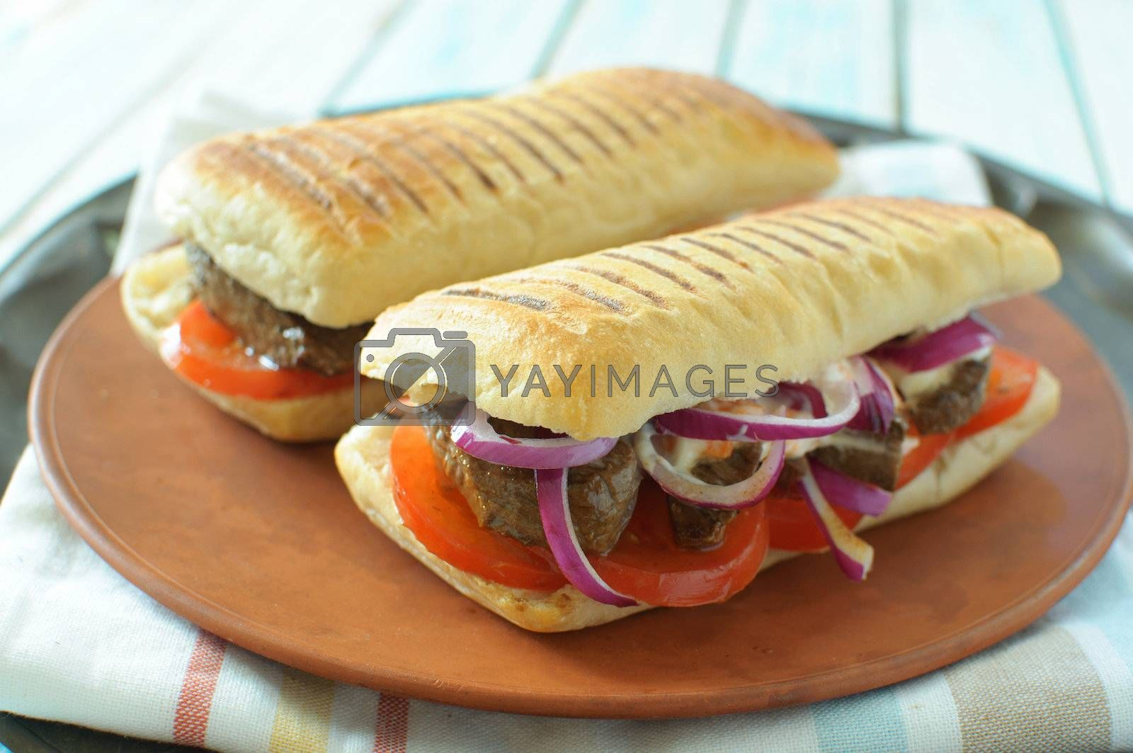 Royalty free image of Beef steak sandwiches by unikpix