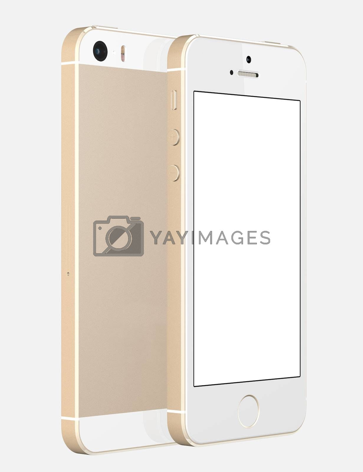 Royalty free image of Gold Smartphone with blank screen on white background by manaemedia