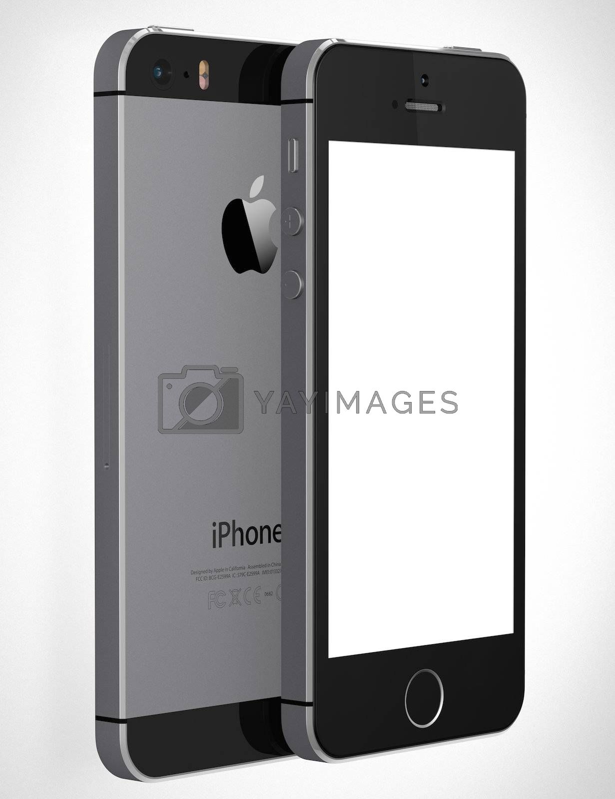 Royalty free image of iPhone 5s with blank screen by manaemedia