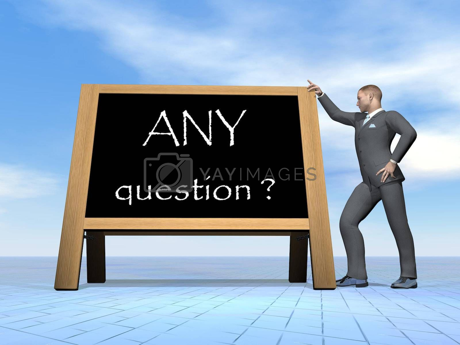 Royalty free image of Businessman questions - 3D render by Elenaphotos21