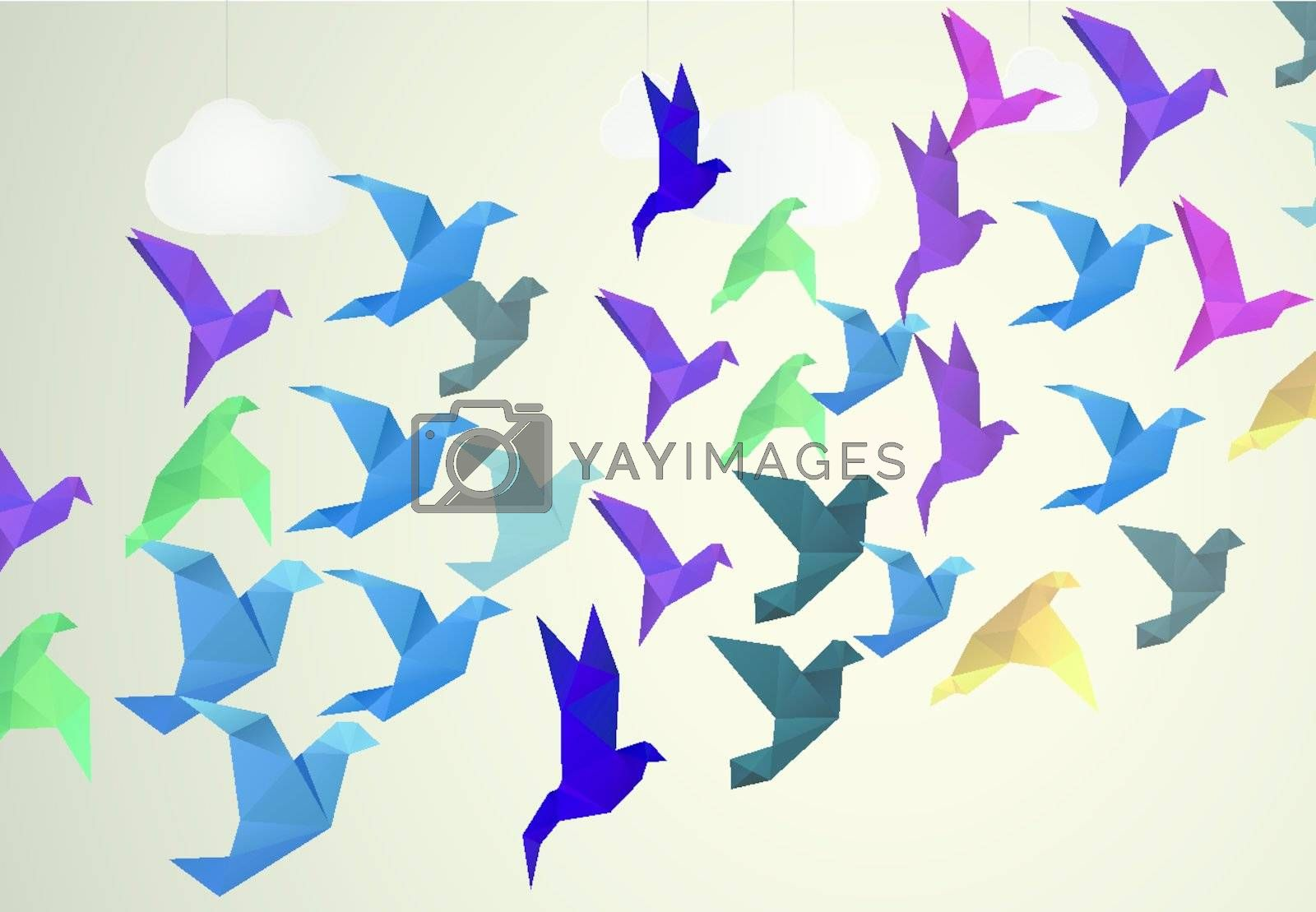 Royalty free image of Origami Birds flying and fake clouds background by Olka