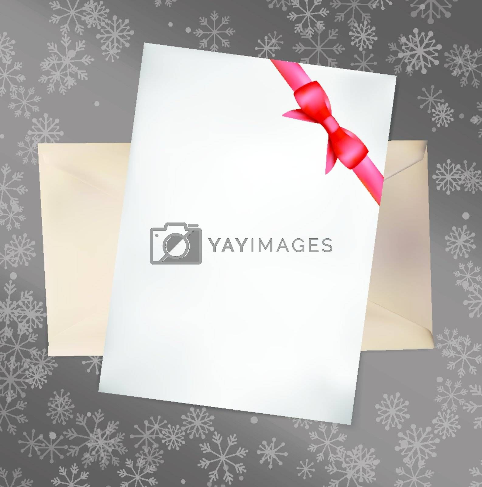 Royalty free image of Paper Card with Red Bow. Vector illustration. by Olka
