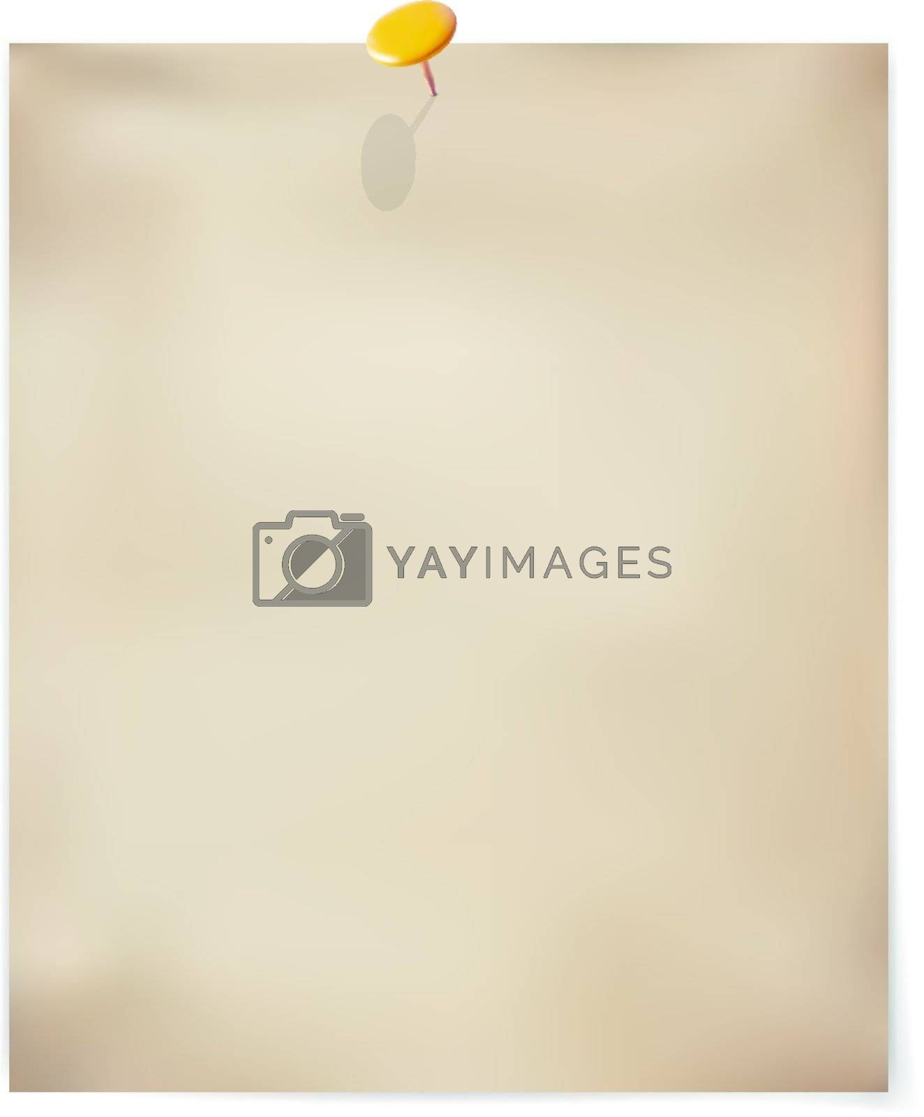 Vector template. Old sheet of paper with pin. Illustration