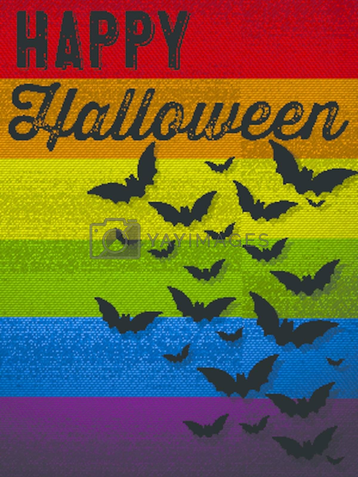 Royalty free image of Happy Halloween Ghost Bat Icon Background by gubh83