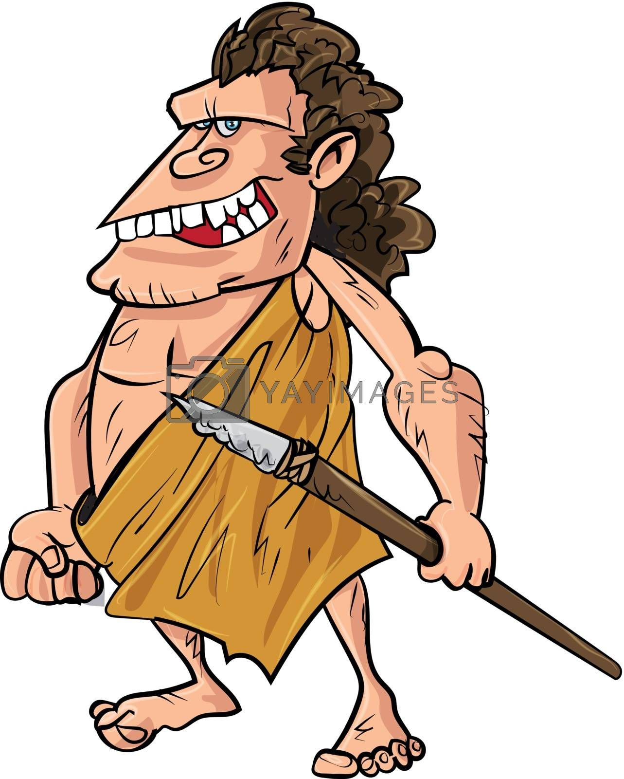Royalty free image of Cartoon caveman with a spear by antonbrand