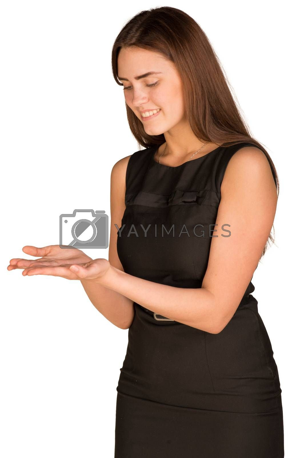 Royalty free image of Businesswoman looking in his empty hands by cherezoff