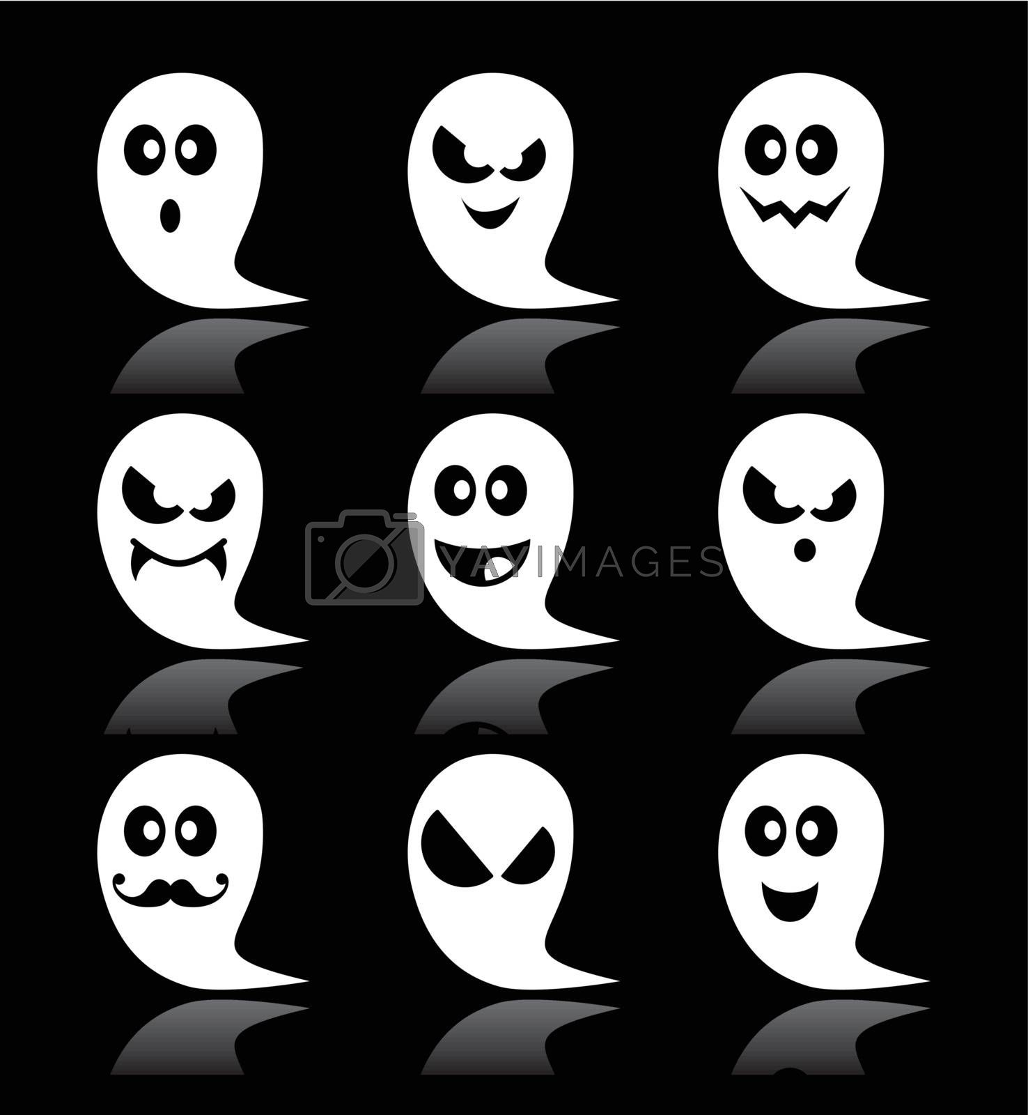 Royalty free image of Halloween ghost vector icons set on black backgroud by RedKoala