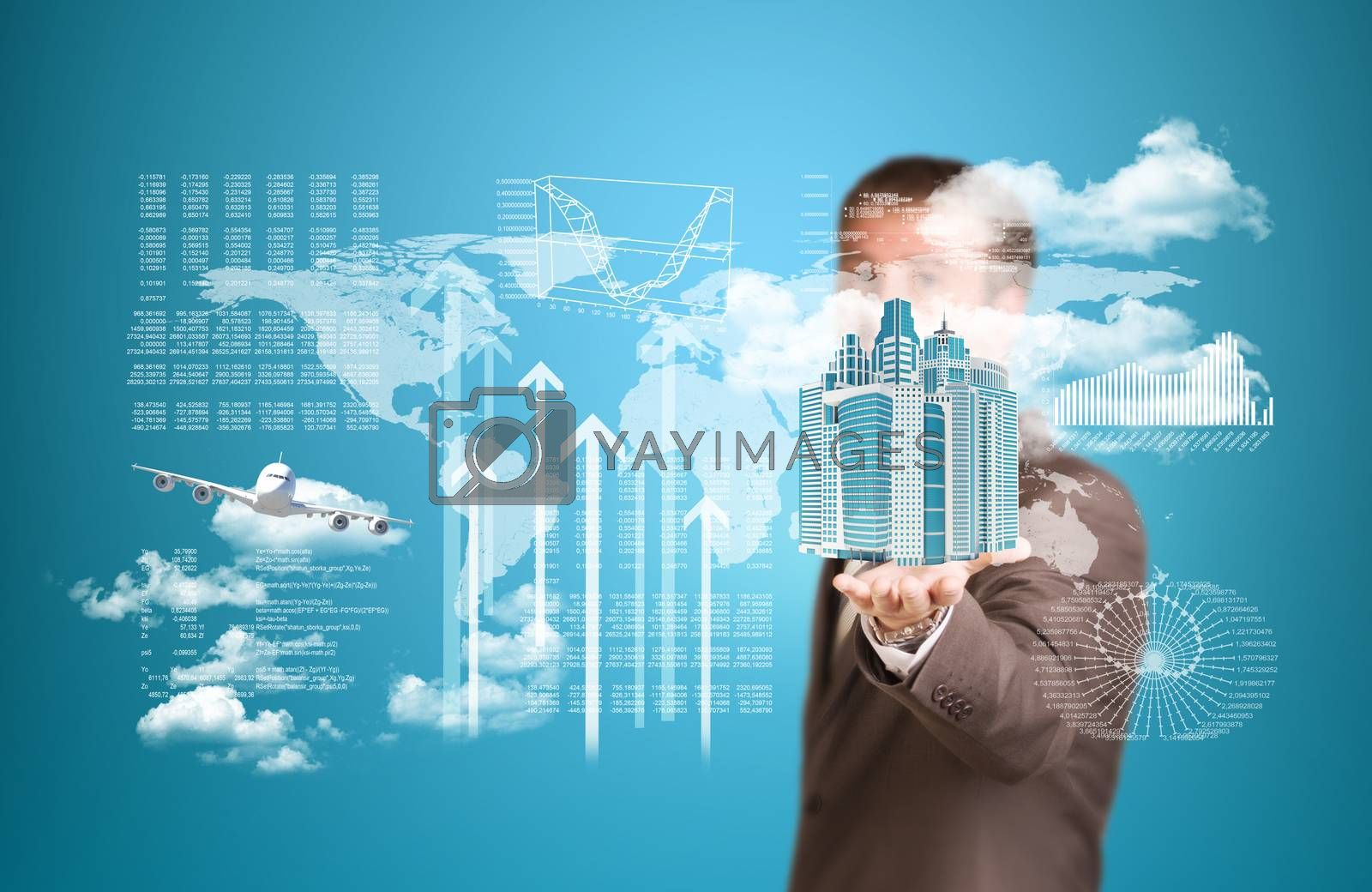 Royalty free image of World map, skyscrapers and flying airplane by cherezoff
