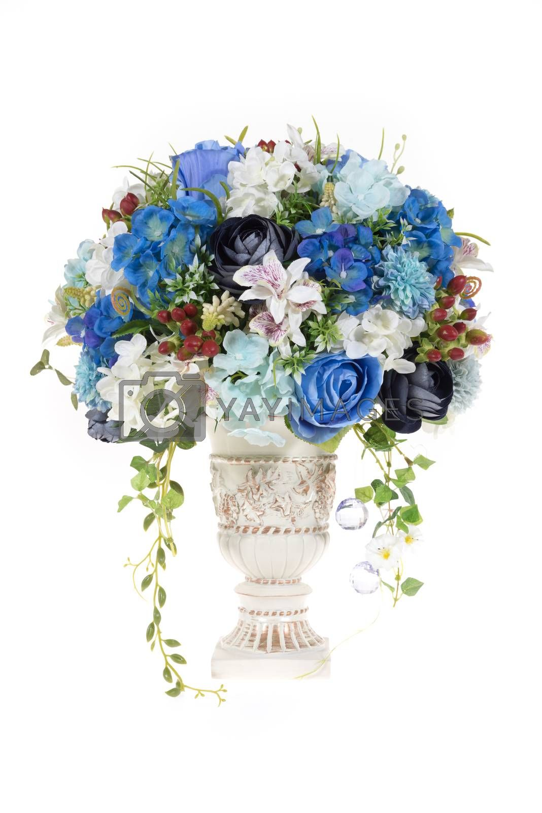 Royalty free image of Decoration artificial plastic flower with vintage design vase by iamway