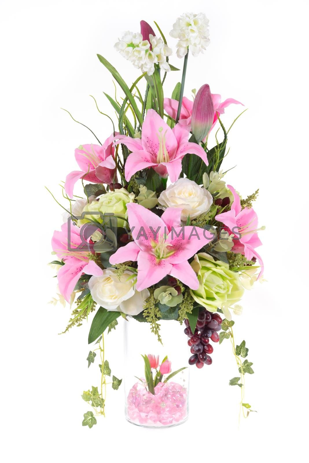Royalty free image of Decoration artificial plastic flower with glass vase, pink cryst by iamway