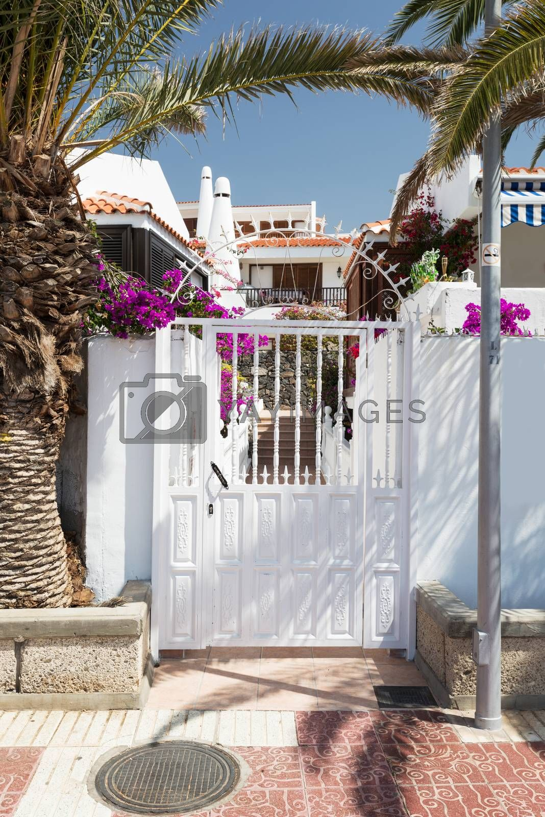 Royalty free image of gate entrance to residential house on Tenerife by Nanisimova