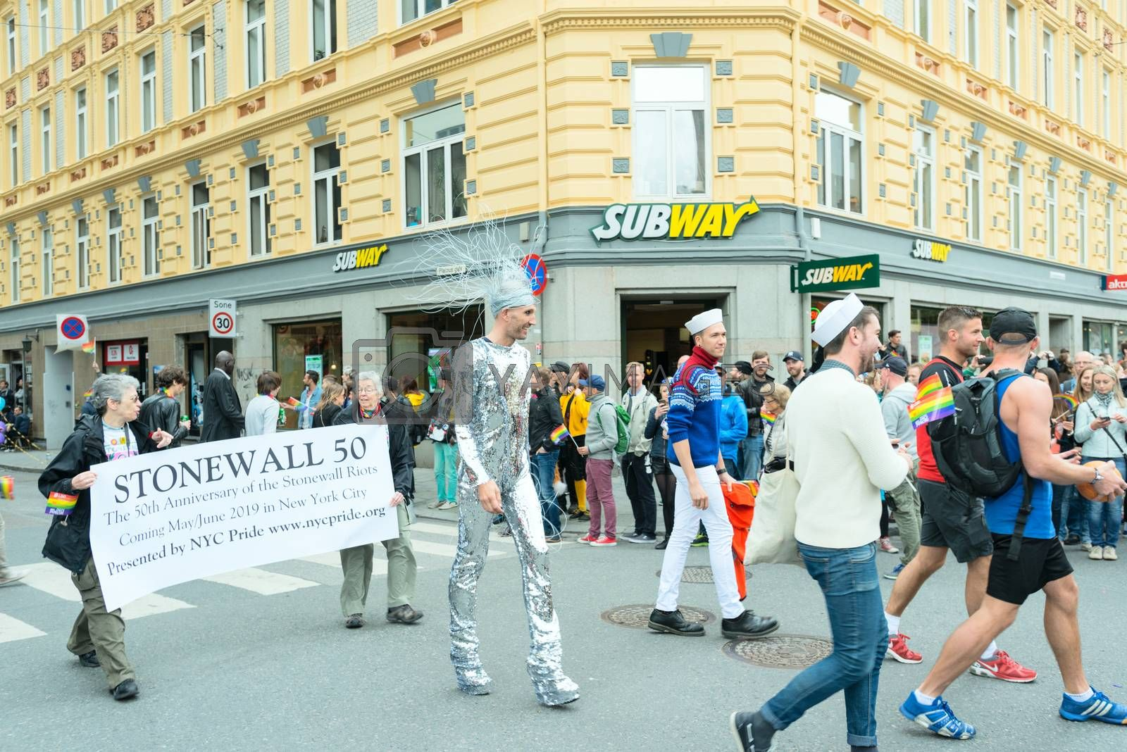 Royalty free image of Europride parade in Oslo silver suit by Nanisimova