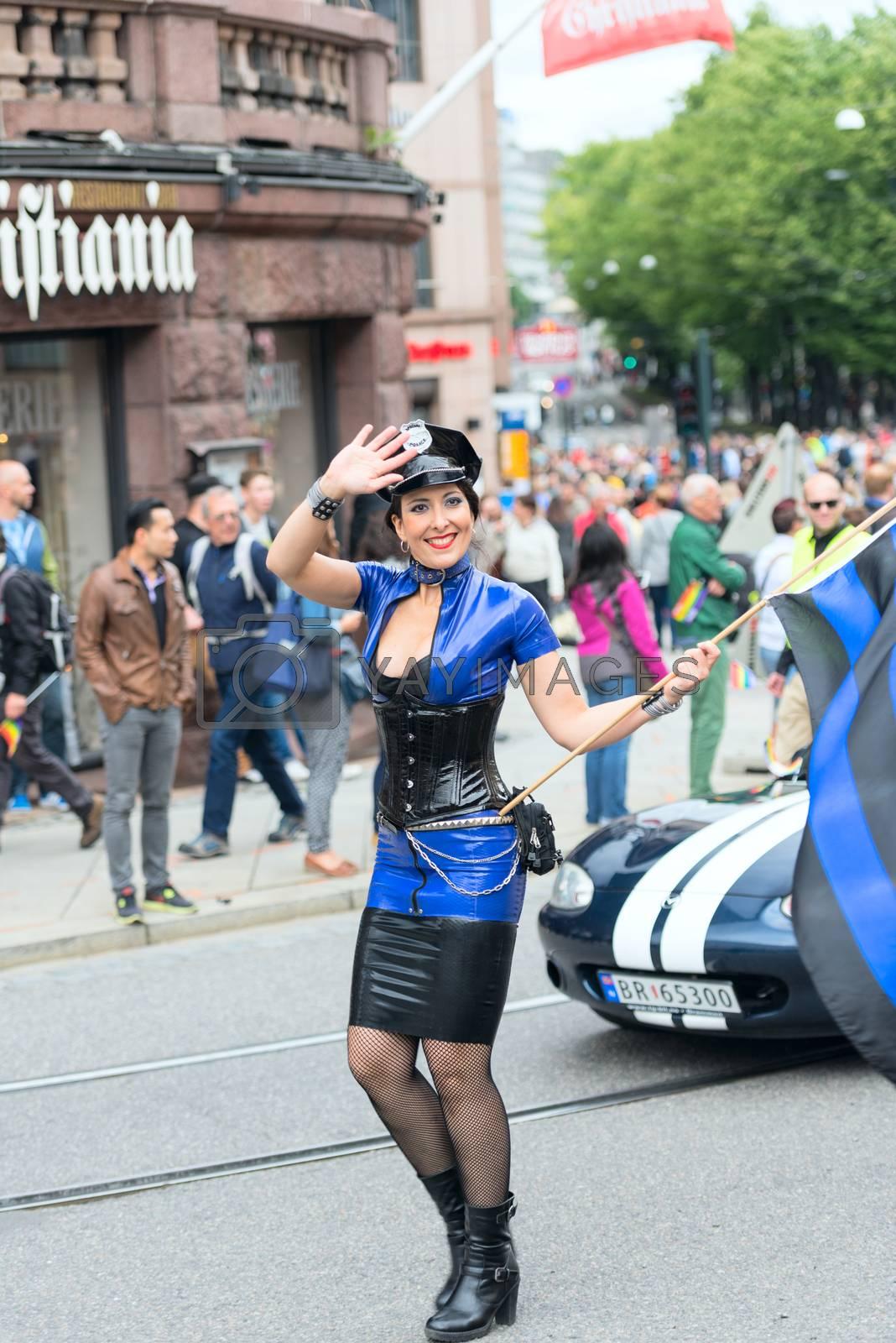 Royalty free image of Europride parade in Oslo policewoman by Nanisimova