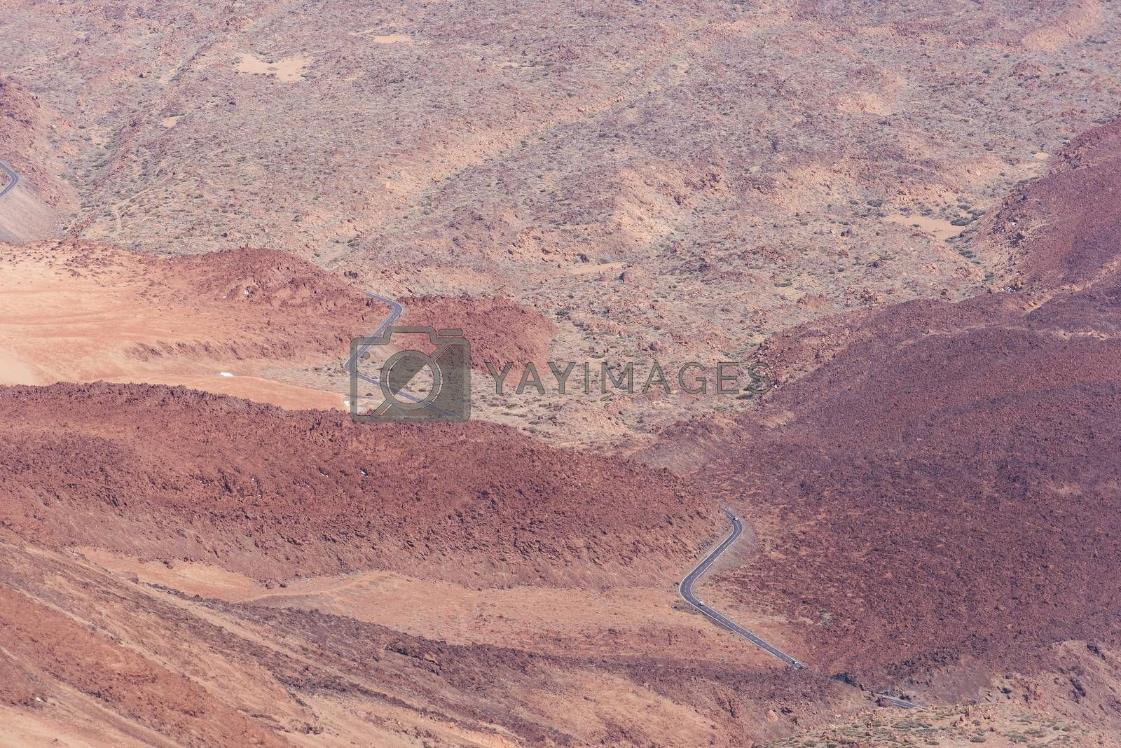 Royalty free image of View on mountain road from Teide Volcano by Nanisimova