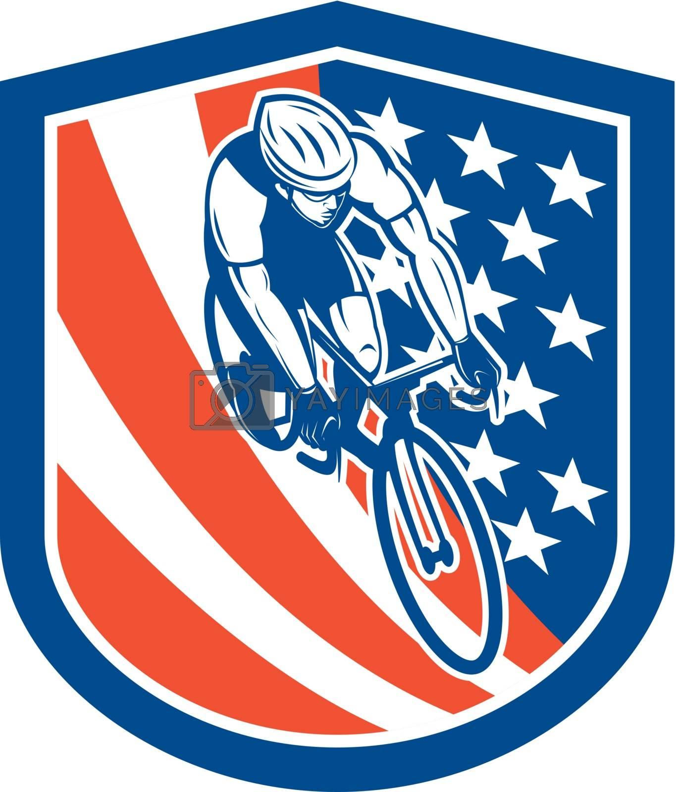 Royalty free image of Bicycle Rider USA Flag Shield Retro by patrimonio