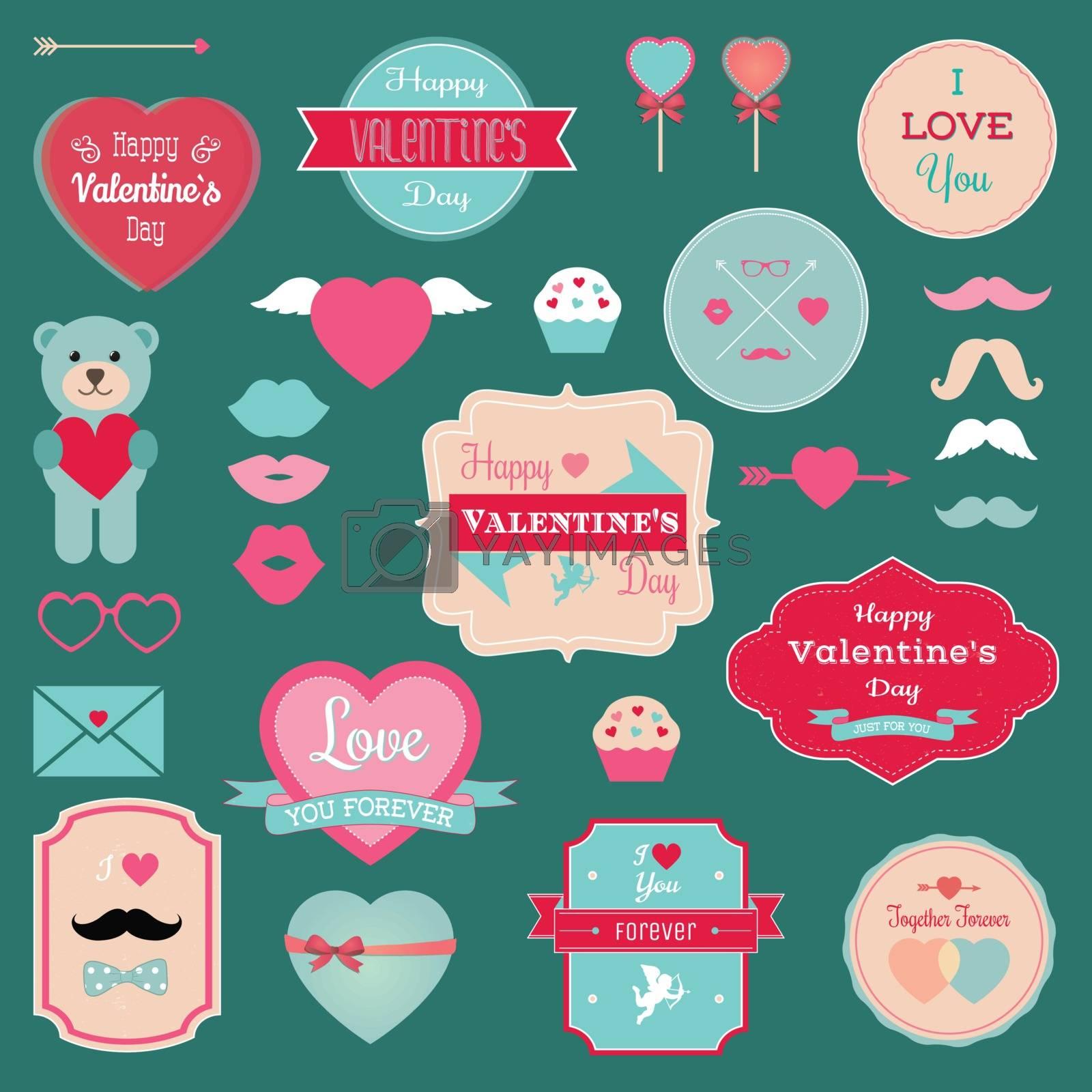 Valentine's Day Badges, Icons, Labels Set. Vector Illustration.