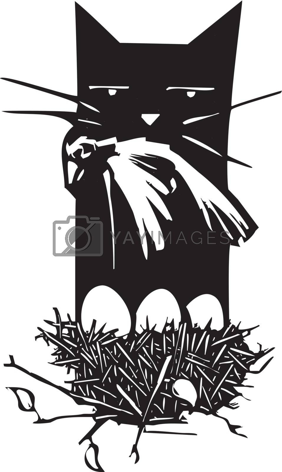 Woodcut style image of a cat killing a bird with a nest of eggs.