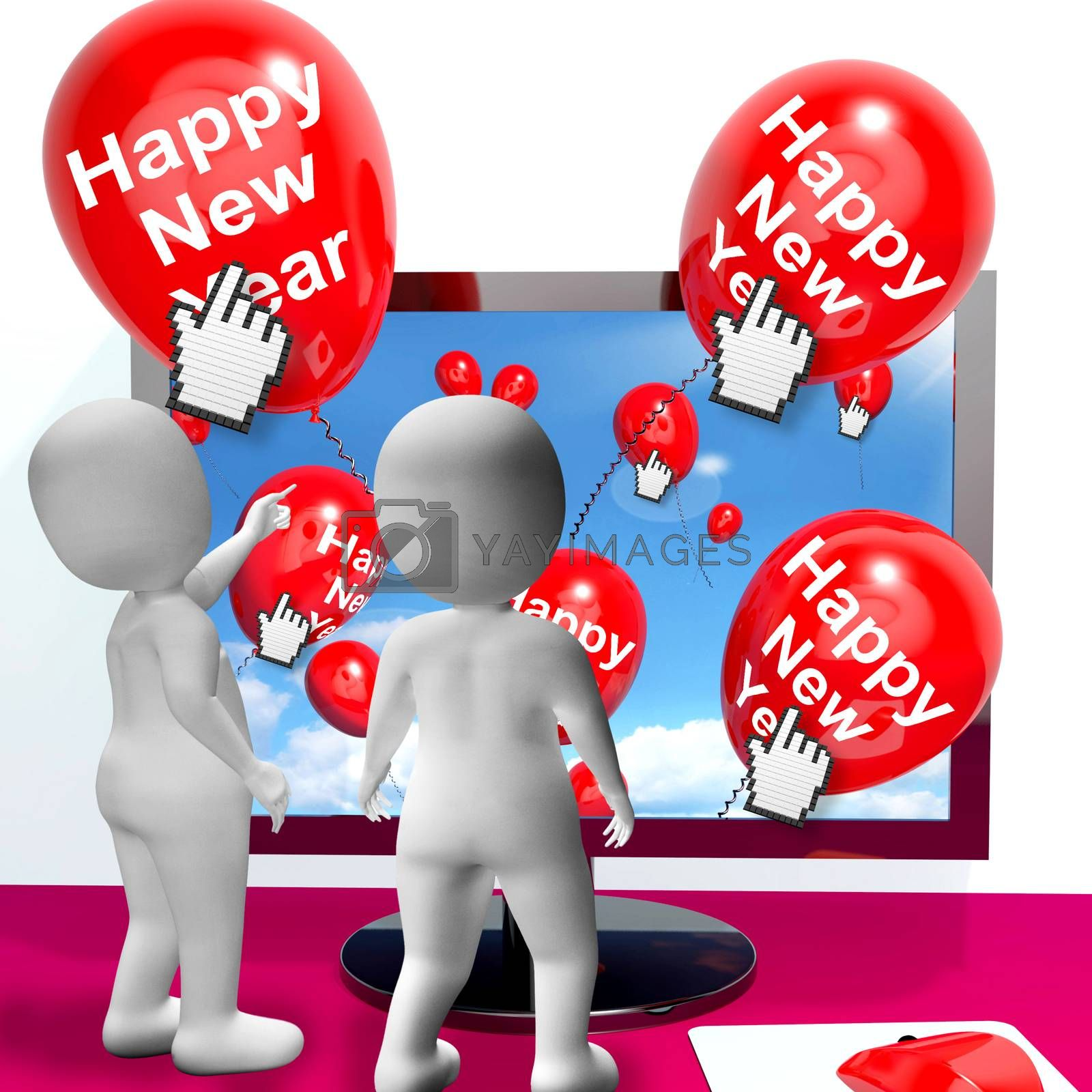Happy New Year Balloons Showing Online Celebration Or Invitations