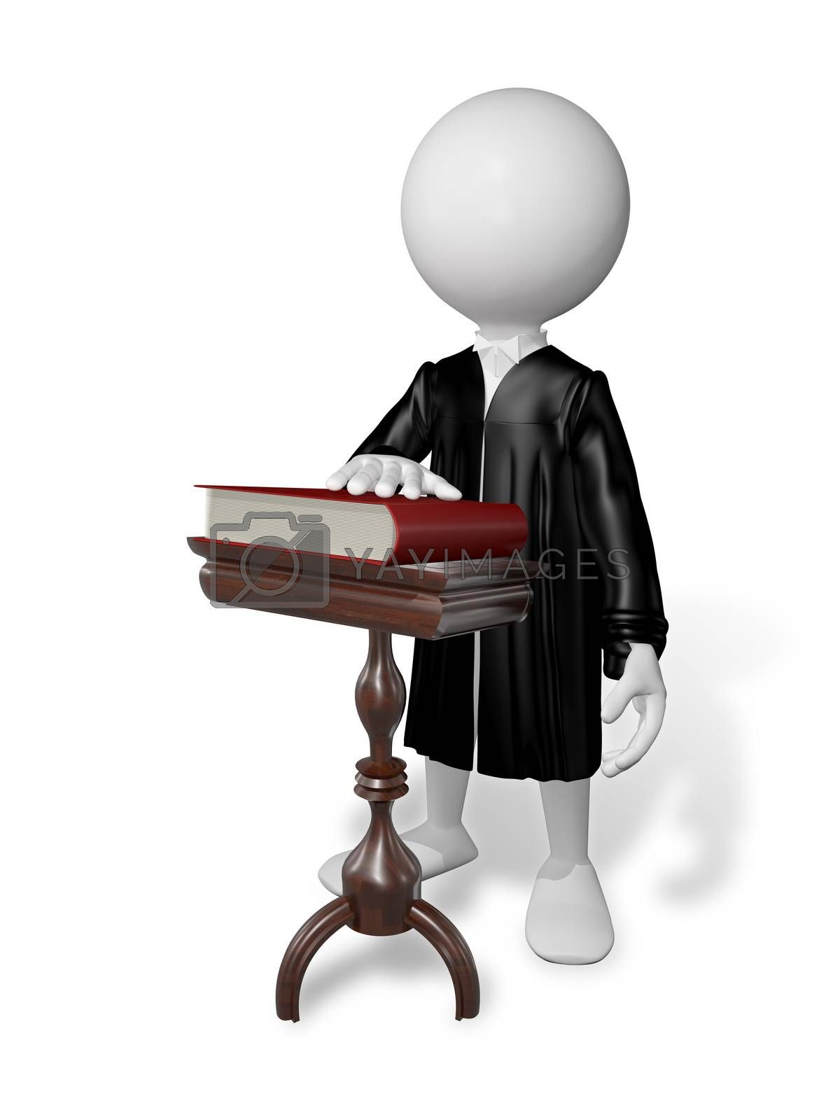 abstract illustration of a white man in the mantle at a table with a book