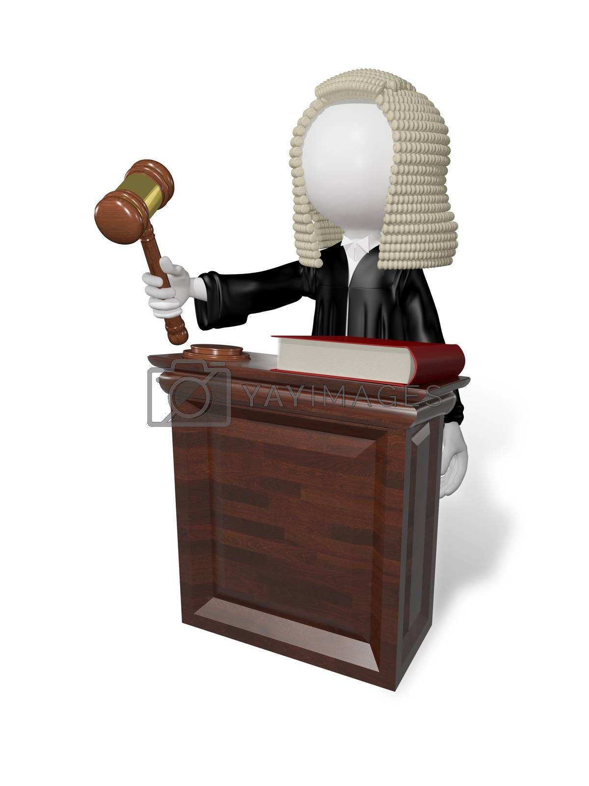 abstract illustration of a judge with gavel at the table