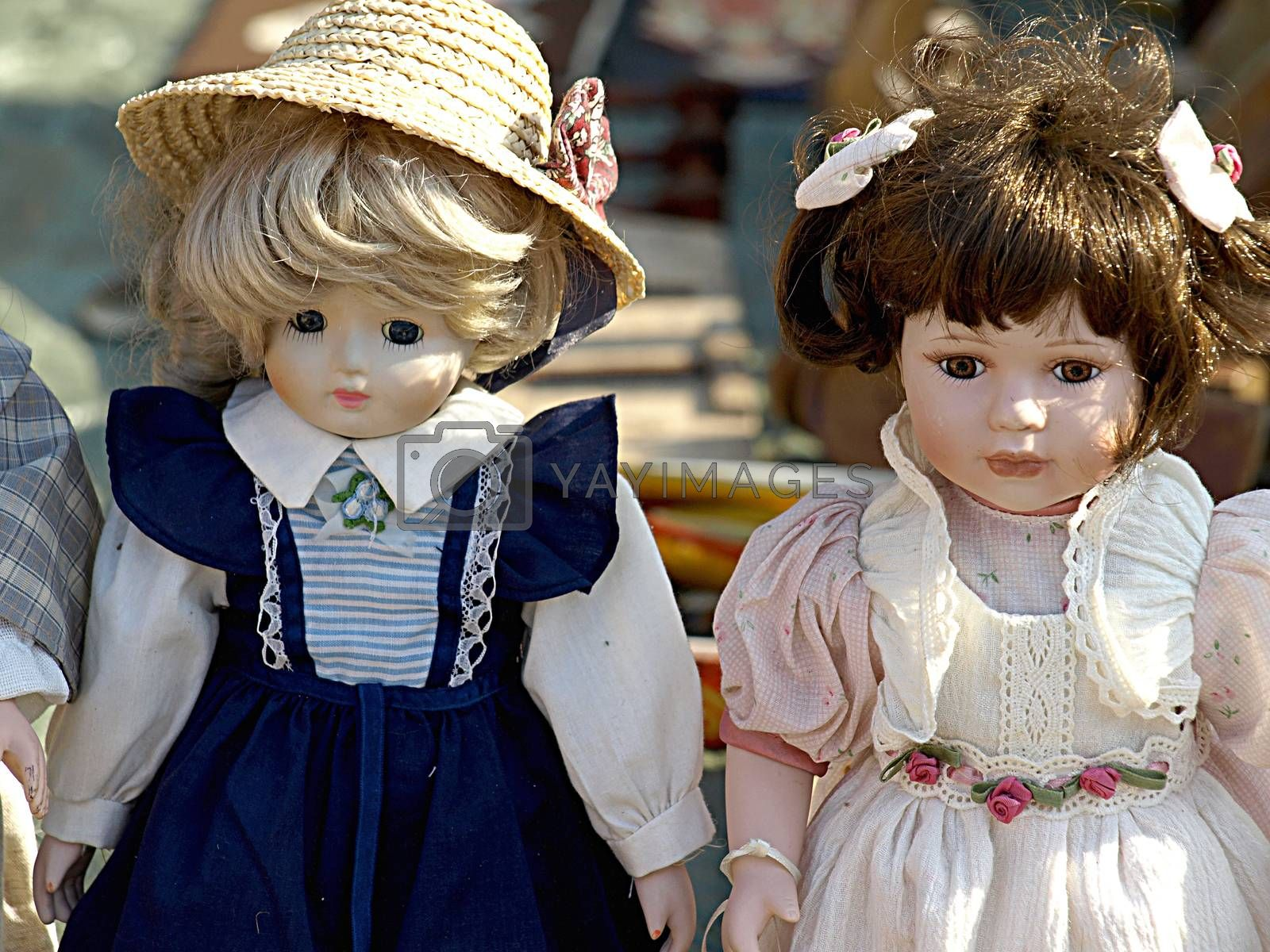Old dolls for sale at antiques fair