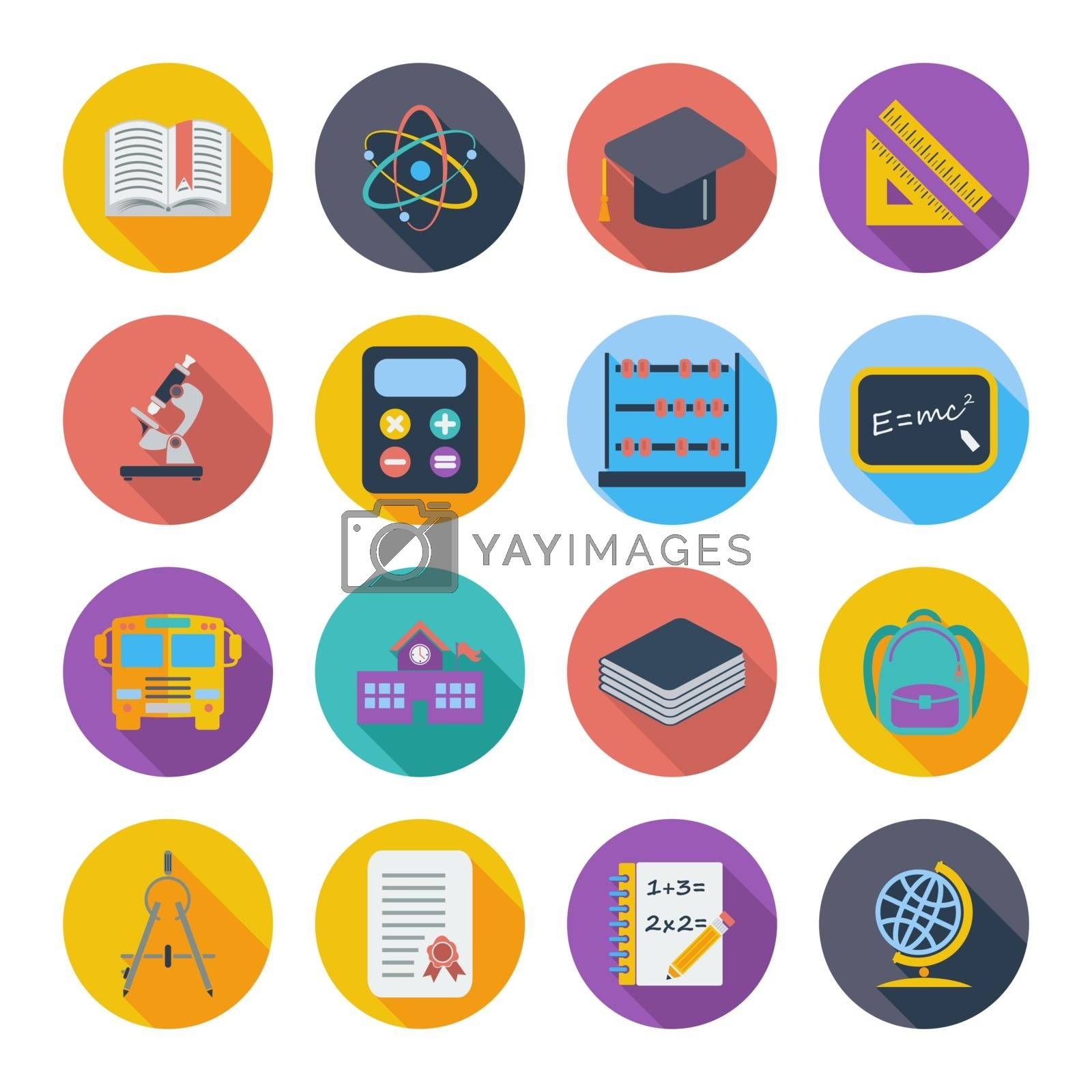 Education flat color icon on the circle. Vector illustration.