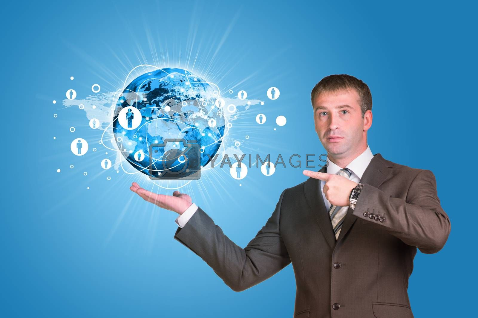 Businessman in a suit hold Earth with lines. Elements of this image are furnished by NASA